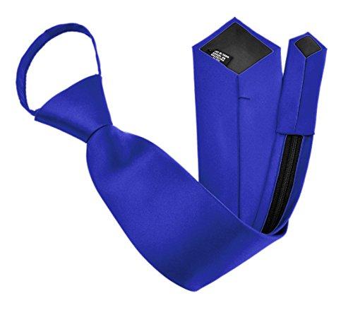 Moda Di Raza - Men's/Boy's Zipper Tie Neckwear Polyester -Royal Blue/20 IN