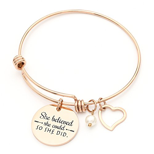 She believed she could so she did' Stainless Steel Inspirational Expandable Wire Bangle Bracelets W/Message Charm For Women - Rose Gold (Charms Bracelets Charm Gold For)