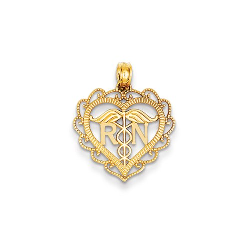 RN Pendentif en forme de cœur en or jaune 14Karat