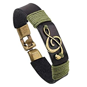 Infinite Memories Music Note Leather Wristband Wrap Bracelets Gifts for Music Lovers Rocker Musician Hippie Men Women