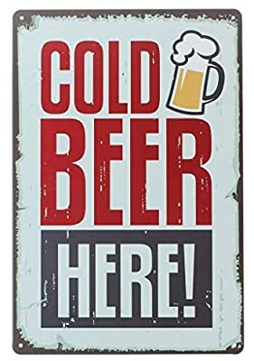 Metal Sign 8x12 inches Pin up Cold Beer Here Retro Vintage Decor Metal Tin Sign