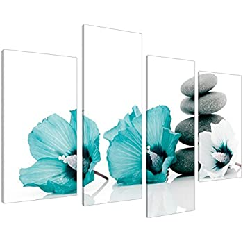 Large Teal Grey And White Lily Floral Canvas Wall Art Pictures   Split Set  Of 4   Big Modern Flower Prints   Multi Panel Artwork   XL   130cm Wide