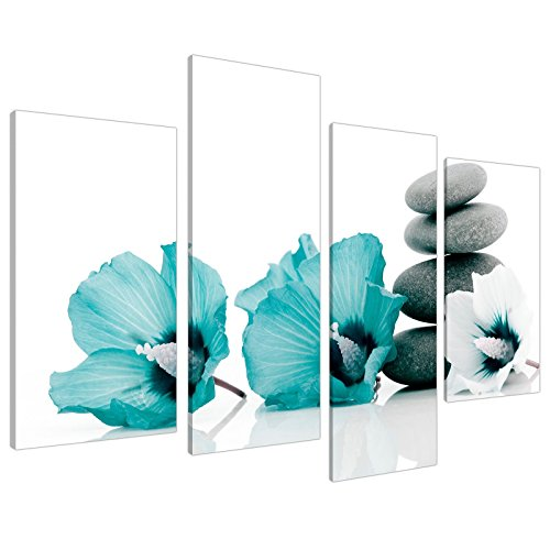 Large Teal Grey and White Lily Floral Canvas Wall Art Pictures - Split Set of 4 - Big Modern Flower Prints - Multi Panel Artwork - XL - 130cm Wide
