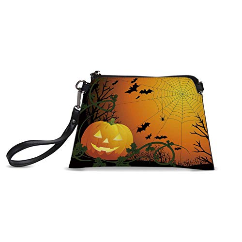 Spider Web Simple HandBag,Halloween Themed Composition with Pumpkin Leaves Trees Web and Bats Decorative for Women,C23.5H15]()
