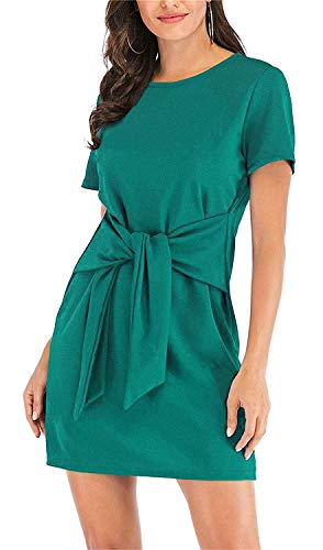 (MIDOSOO Womens Solid Color Short Sleeve Wear to Work Pencil Dress with Belt #2Lake Blue)