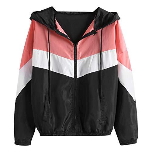 kaifongfu Women's Hooded Jacket Windbreaker Long Sleeve Zipper Color Thin Sport Coat Black (Kleidung Kurze Frauen)