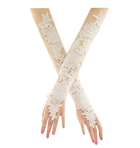Women Bridal Long Lace Gloves Elbow Fingerless Wedding Party Costume Prom]()