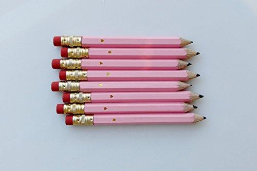 Baby Pink Gold Foil Heart Mini Pencils SET OF 24 Baby Shower Favor Bridal Shower Favor Wedding Favor Wedding Pencil Set Mini Pencil Set Gold Heart by Define Design 11