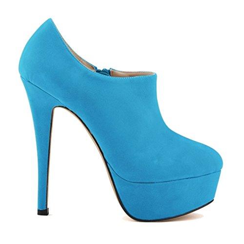 Deep la Aiguilles Clair forme hiver Bleu Plate Xianshu Bottines Automne Toe Talons Femme Escarpins de en vqxZHXx5w