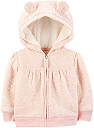Baby Girls Hooded Sweater Jacket with Sherpa Lining