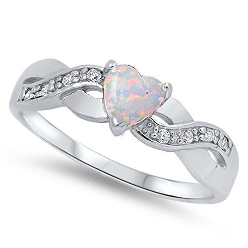 Heart Infinity Knot White Simulated Opal Promise Ring .925 Sterling Silver Size 5