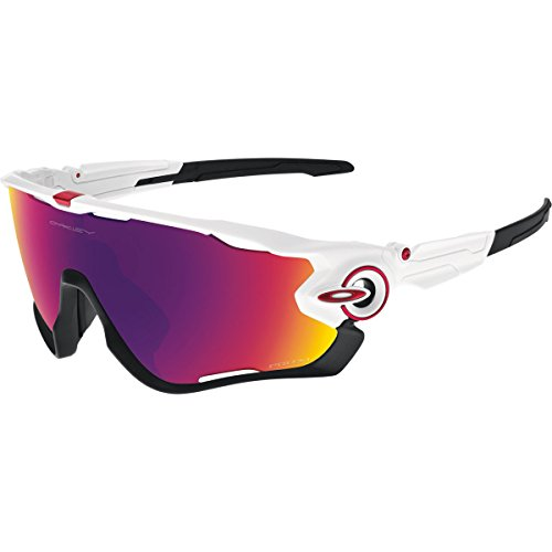 Oakley Men's Jawbreaker Asian Fit OO9270-04 Shield Sunglasses, Polished White, 131 - Fit Asian Oakley Sunglasses
