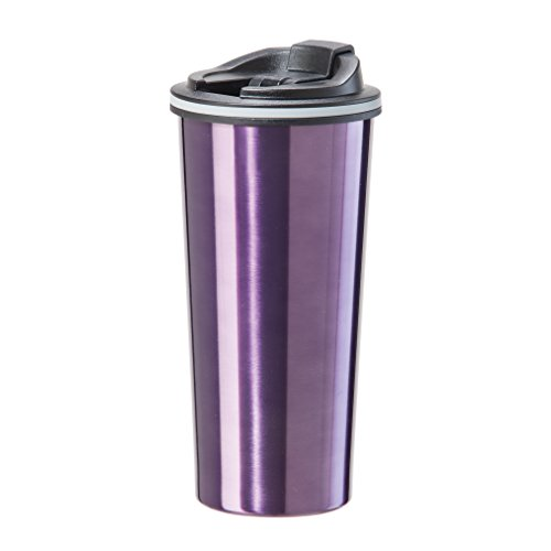 Oggi 8063.8 Double Wall Stainless Steel Travel Mug with Stainless Steel Liner and Flip Open Top, 0.5 L/16 oz., (Double Wall Stainless Liner)