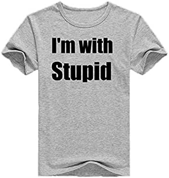Round Neck I'm With Stupid T-Shirt For Men