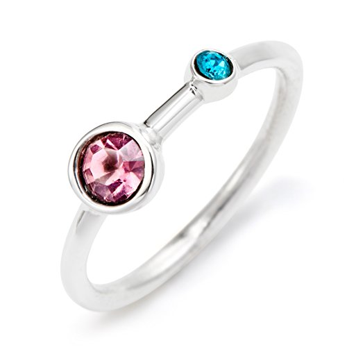 Sterling Silver Custom 2 Stone Simulated Birthstone Mother and Child Ring, ring sizes 5 to 9