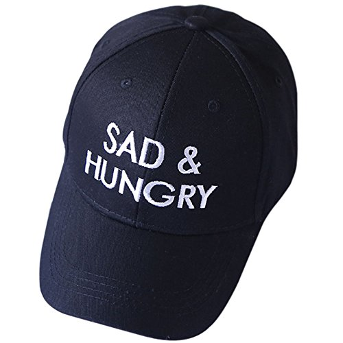 Men Funny Womens Cap - Aodray Polo Hat Embroidered Sad& Hungry Baseball Cap for Men and Women Cotton Adjustable Dad Hat Funny (Black, Free)