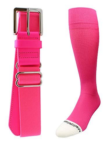 - MadSportsStuff Pro Line Baseball Socks and Belt Combo (Neon Pink, Small)