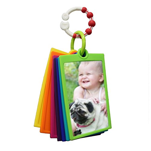 """My First Photos album, cards and toy for babies and toddlers, silicone BPA-free, stimulate visual and memory skills, photos 4""""x6"""", didactic, colorful and portable."""