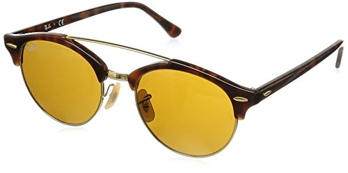 Ray-Ban Clubround Double Bridge Sunglasses (RB4346) Tortoise/Brown Plastic - Non-Polarized - - Brown Ban Glasses Ray