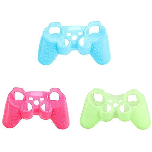ElementDigital® Controller Case Cover for PS3, 3PC Glow Soft Silicone Protective Case Cover Anti-Slip Case Skin for PlayStation3 PS3 Game Controller - Wireless Glow Ps3 Controller