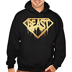 Interstate Apparel Gold Dripping Super Beast Men's Black Pullover Hoodie Sweater Black