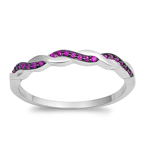 (Simulated Ruby Bright Infinity Knot Stackable Ring .925 Sterling Silver Band Size 4)