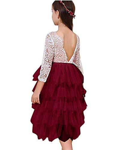 Baby Toddle Girls Tutu Dress Short Sleeves Stripe Tulle Skirts Mini Dress (White red Long Sleeve, 4T)]()