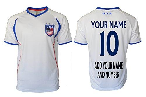 Usa Sports Jersey Flag Adult Training Custom Name and Number (M, WHITE) (United Jacket Training)