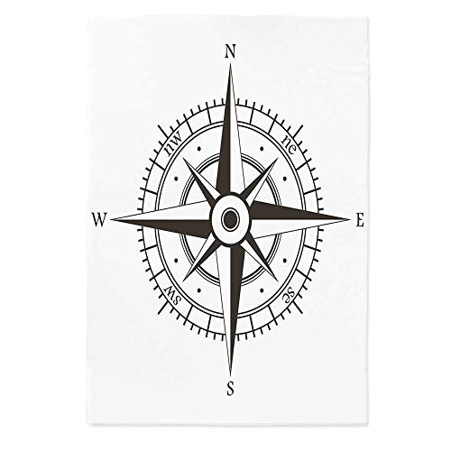 Compass Decor Custom Tablecloth,Wind Rose Old Fashion Navigational Equipments Orienteering Illustration Print for Home & Office & Restaurant Table Tea Table,40.2''W X 60.2''L