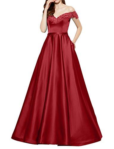 Abschlussballkleider Schulterfrei Brautmutterkleider Lang La Satin mia Rot Brau A Linie Dunkel Partykleider Kurzarm Abendkleider UYw8waxqE