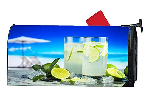 (Lemonade Citrus Cold Drink Fruit Juice Personalized Decor Mailbox Cover - Vinyl with Magnetic for Standard Mailbox 6.5