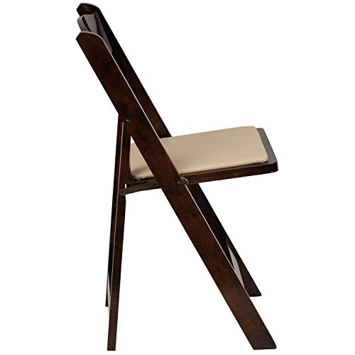 HERCULES™ White Wood Folding Chair with Padded Seat