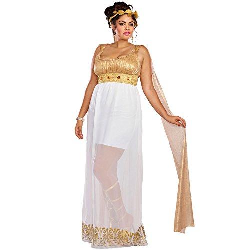 Dreamgirl Women's Plus Size Athena, White/Gold, 2X