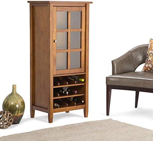 SIMPLIHOME Warm Shaker 12-Bottle SOLID WOOD 23 inch Wide Rustic High Storage Wine Rack Cabinet