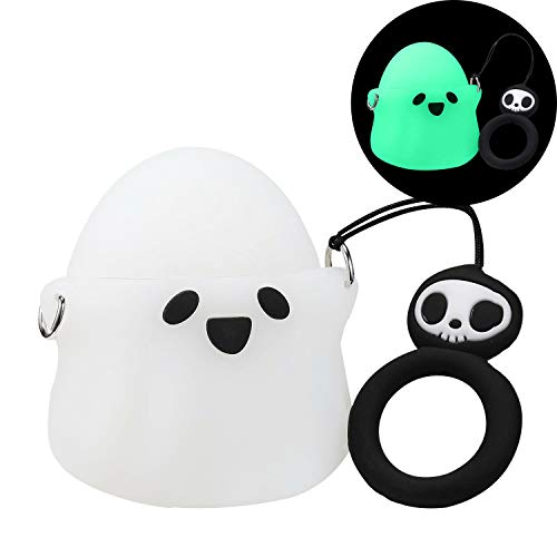 Cute Halloween Cartoon Characters (Joyleop(Luminous Ghost) Compatible with Airpods 1/2 Case Cover, 3D Cute Cartoon Funny Fun Cool Kawaii Fashion Chic, Silicone Airpod Character Design Skin Keychain,Girls Boys Teens, Case for Air)