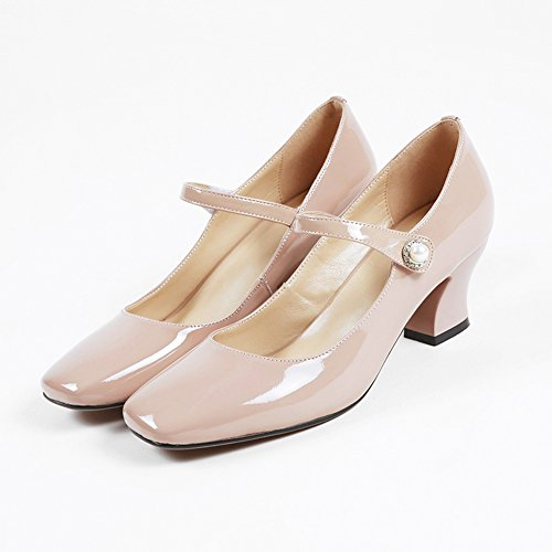 Minivog Womens Square Toe Croos Strap Chunky Tacco Alto Pumps In Vernice Mary Jane Shoes Rosa