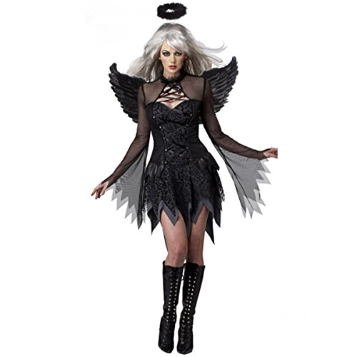 Angels Mesh Costumes (Sexy Womens Halloween Costume Halloween Costumes For Women Fallen Angel Costume Black Onesize)