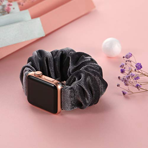 Muranne Scrunchie Watch Band Compatible with Apple Watch SE 42mm 44mm Cute Pattern Soft Cloth Replacement Elastic Wristband for iWatch Series 6 5 4 3 2 1 Smoky Gray 42mm/44mm Large