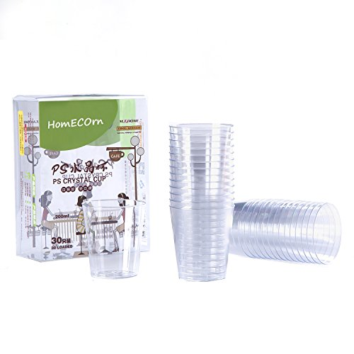 6 Ounce Plastic Cups (Homecorn Disposable Plastic Crystal Cups, Party Round Drinkware, 6 oz, 30 Counts)