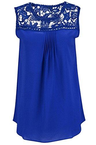 Manzocha Women's Lace Chiffon T Shirt Stitching Blouse Hollow Out Tops – Large, Blue