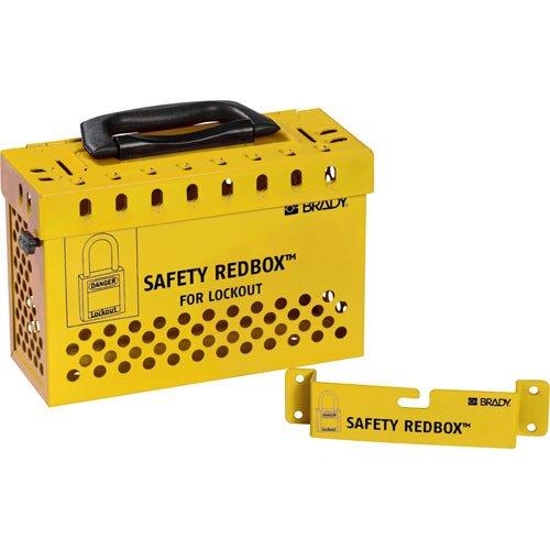 Brady 145580 Powder-Coated Steel Group Lockout Box, 20 Number of Padlocks, 6.7'' H x 9.5'' W, Yellow