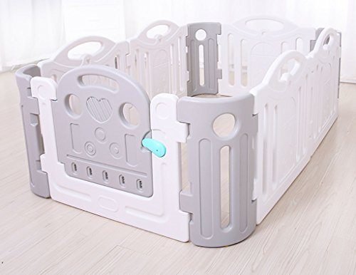 Price comparison product image Child safety gates Baby Playpen Activity Center, Baby Fence Play Area Large,  Indoor Playard, baby Fence Gate, 120190cm (6 Gate+4 Monolithic)Safe,  Strong And Durable (Color : Gray+white)