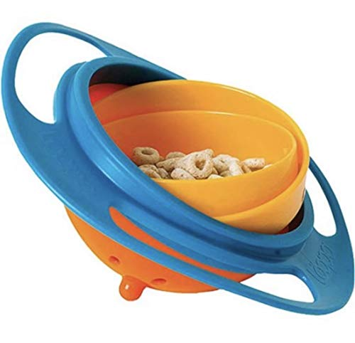 Gyro Bowl-COMETA- 360 Degree Rotation Spill Resistant Gyroscopic Bowl with Lid Toy Tableware for Kids Toddlers.(Blue) (Gyroscopic Bowl)