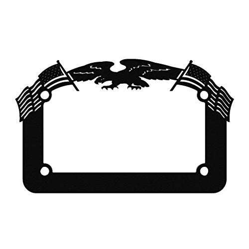 Motorcycle Show Plate - Ferreus Industries Black Powdercoat Motorcycle License Plate Frame Eagle American Flag Eagle - 1 Piece LIC-119-Black