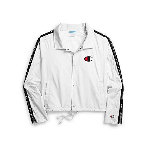 Champion LIFE Women's Zipper Tape Cropped Coaches Jacket, White, XS