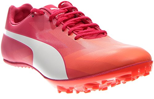 (PUMA Women's Evospeed Sprint V6 Track Spike Shoe, Fluorescent Peach/White/Rose Red/White, 7 B US)