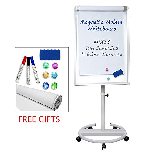 Mobile Dry Erase Board – 40x28 inches Magnetic Whiteboard Stand Easel White Board with 25 Sheets Paper Pad