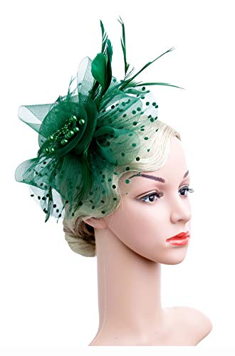 Cizoe Flower Cocktail Tea Party Headwear Feather Fascinators Top Hat for Girls and Women(1-green)