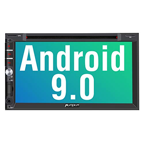 PUMPKIN Android 9.0 Car Stereo Double Din with DVD Player, GPS Navigation, WiFi, Support Fastboot, Backup Camera, Android Auto, AUX, USB SD, 7 Inch Touch Screen