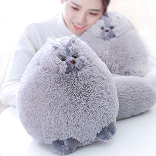 (Winsterch Kids Cats Stuffed Animal Toys Plush Cat Toys Birthday Gift,Plush Pillow,Gray,12 Inches)